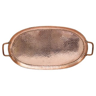 Antique Arts & Crafts Hammered Copper Tray