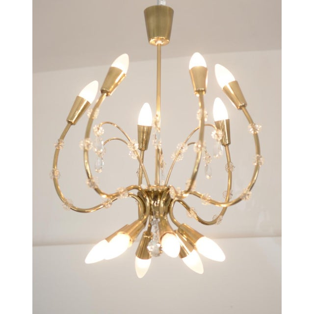 Mid-Century Modern Mid-Century Brass Chandelier by Emil Stehnar for Rupert Nikoll For Sale - Image 3 of 8