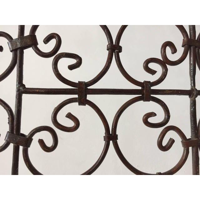 Black Hand-Forged Iron Three Panels Folding Moorish Screen For Sale - Image 8 of 9