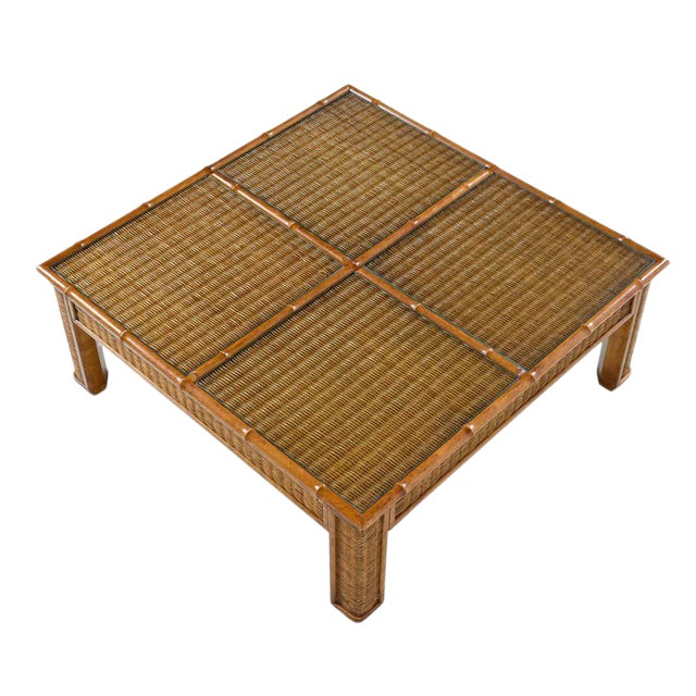 1970s Modern Glass Panel Reed Rattan Bamboo Coffee Table For Sale