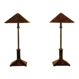 Maitland Smith Marble Overlay & Bronze Lamps - a Pair For Sale