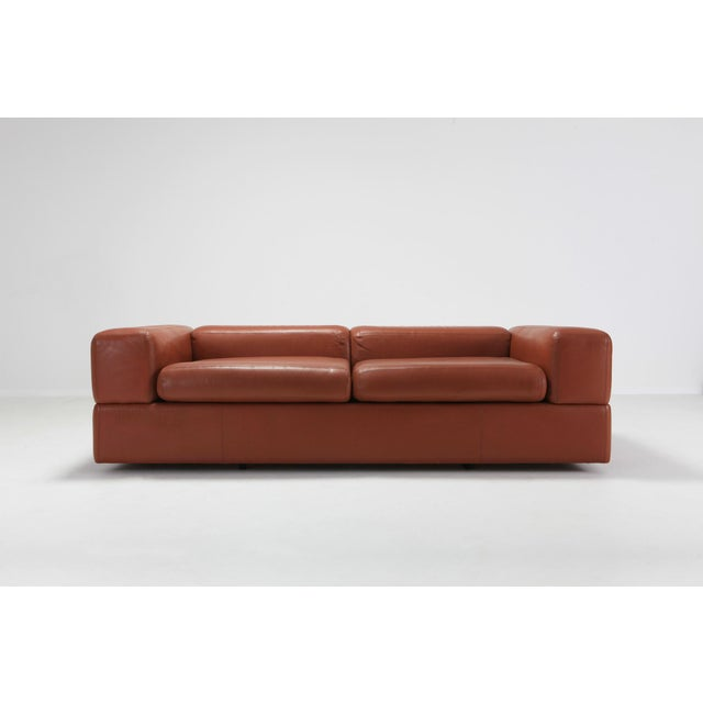Tito Agnoli for Cinova, sofa bed 711 in cognac leather, Italy, 1960s. Mid-Century Modern Space Age sofa which can be...