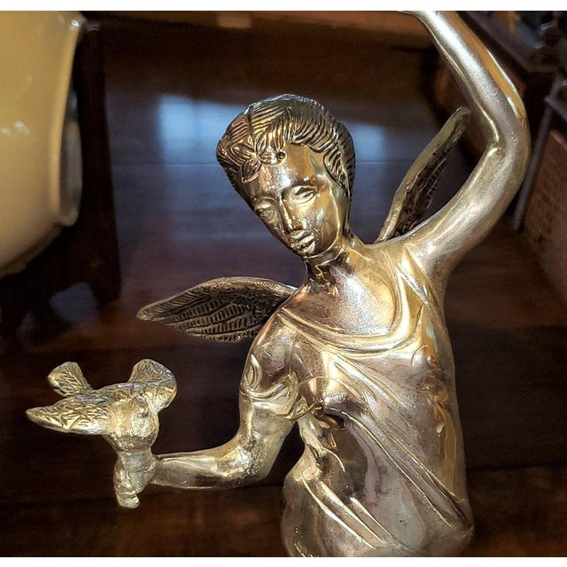 Chromed Angel Centerpieces - a Pair For Sale - Image 10 of 13