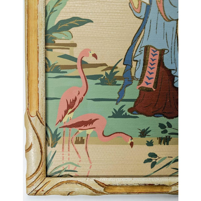 1920s Vintage Asian Silk Screen Hand Painted Prints With Gold. Pair of 2 For Sale - Image 5 of 8