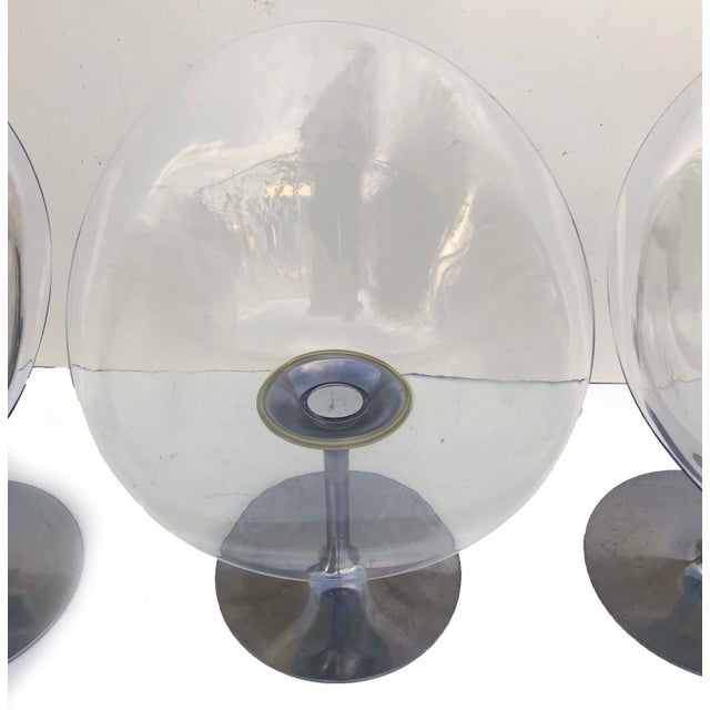 Philippe Starck for Kartell Clear Lucite Eros Swivel Italian Chairs- Set of 3 For Sale In Miami - Image 6 of 7