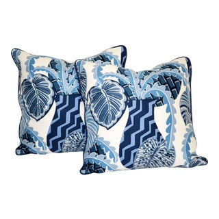 Printed Blue and White Tropical Cotton Pillows With Down Inserts - a Pair For Sale