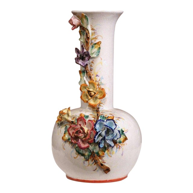 Large Early 20th Century French Hand Painted Barbotine Vase With Flowers For Sale