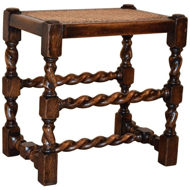 Late 19th Century 19th Century English Turned Stool With Caned Top For Sale - Image 5 of 5