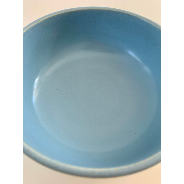 A simple and casually sophisticated vintage, dual-glazed blue and white Catalina Pottery dish with ultra smooth texture....