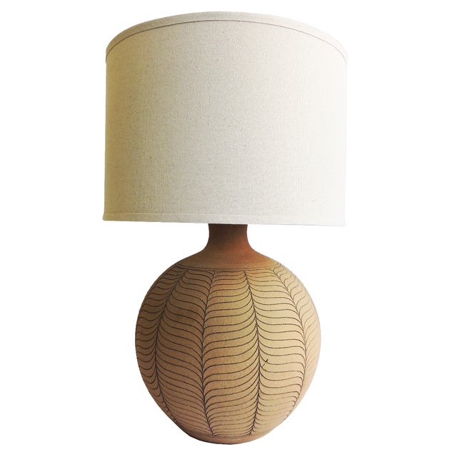 Incised Round Earthenware Lamp by Brown - Image 1 of 3