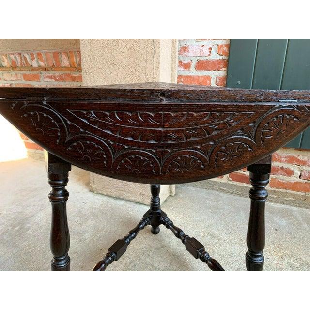 Antique English Carved Oak Envelope Handkerchief Drop Leaf Round Table Corner For Sale - Image 12 of 13