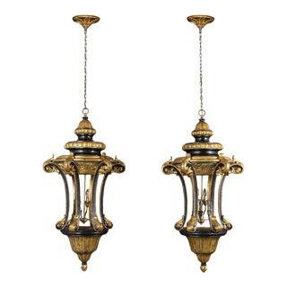 Pair of Italian Gilt Ebonized Carved Lanterns For Sale