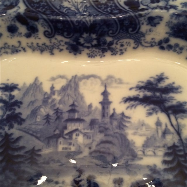 """Flow Blue 12"""" Footed Serving Dish - Image 6 of 10"""