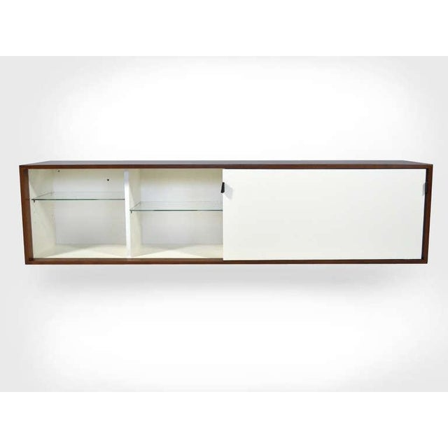 Mid-Century Modern Pair of Florence Knoll Walnut Wall Mounted Credenzas or Cabinets For Sale - Image 3 of 10