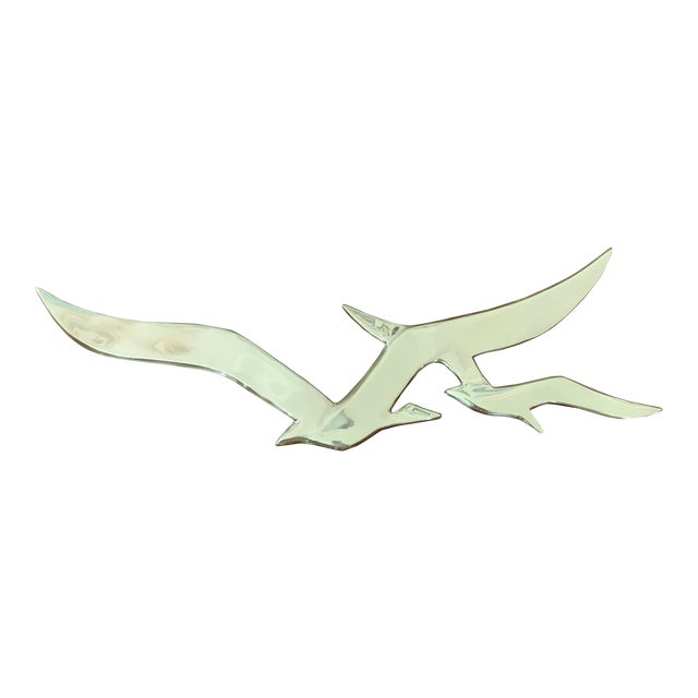 Large Mid Century Brass Seagulls Wall Sculpture For Sale