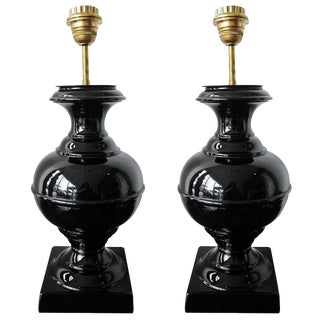 French Mid-Century Modern Black Ceramic Lamps With New Shades - a Pair For Sale