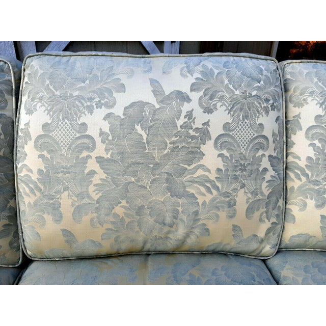 Textile Formal Custom Built Blue on Ivory Silky Damask Upholstered Sofa For Sale - Image 7 of 13