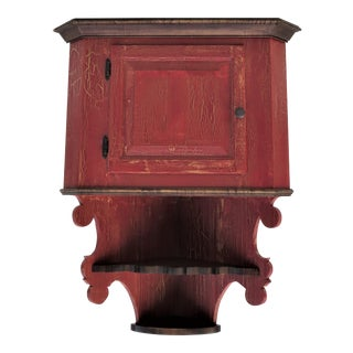 Custom Made Distressed Hanging Corner Cabinet For Sale