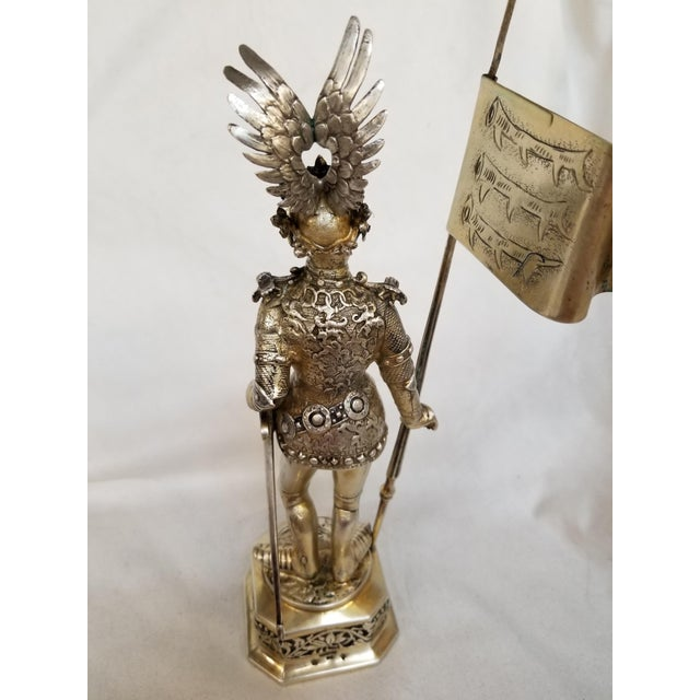 19th Century Sterling & Vermeil Silver Knight W/ Staff Flag, Germany For Sale - Image 4 of 11