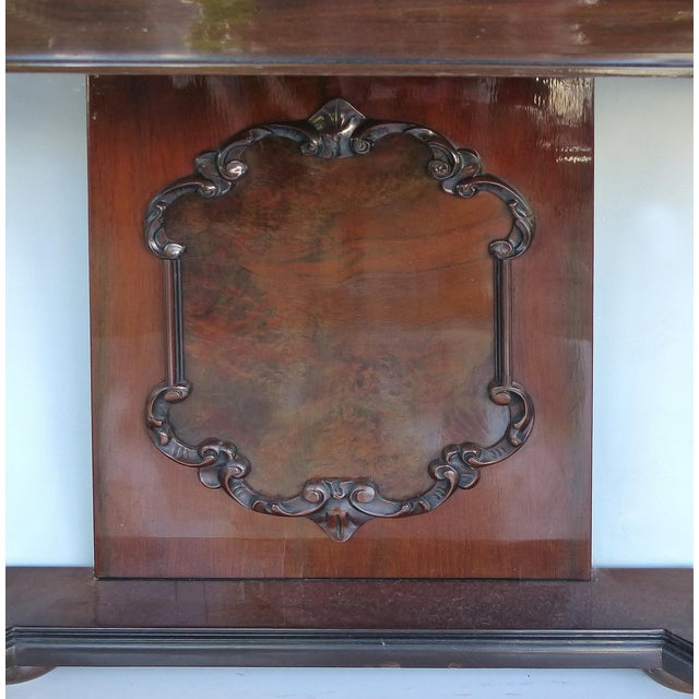 English Traditional Carved Two-Drawer Console Table With Mahogany, Satinwood and Ebonized Wood For Sale - Image 3 of 13