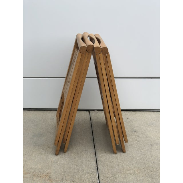 Wood Mid Century Modern Danish Folding Chairs- Set of 4 For Sale - Image 7 of 10