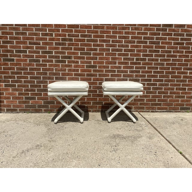 White Leather X Base Benches - a Pair For Sale - Image 13 of 13