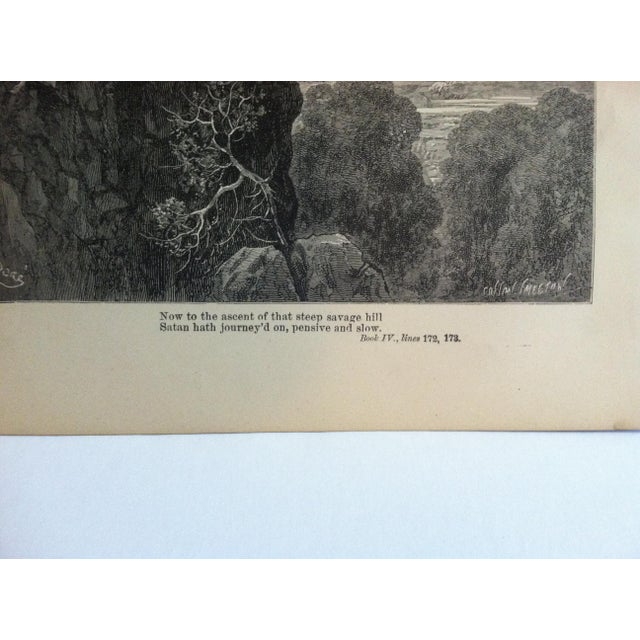 "Traditional Antique Paradise Lost Print, Now to the Ascent of the Steep Savage Hill"", Circa 1890 For Sale - Image 3 of 4"