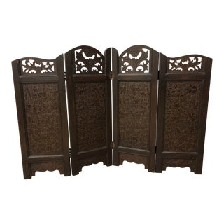 Four Panel Wood Carved Egyptian Screen For Sale
