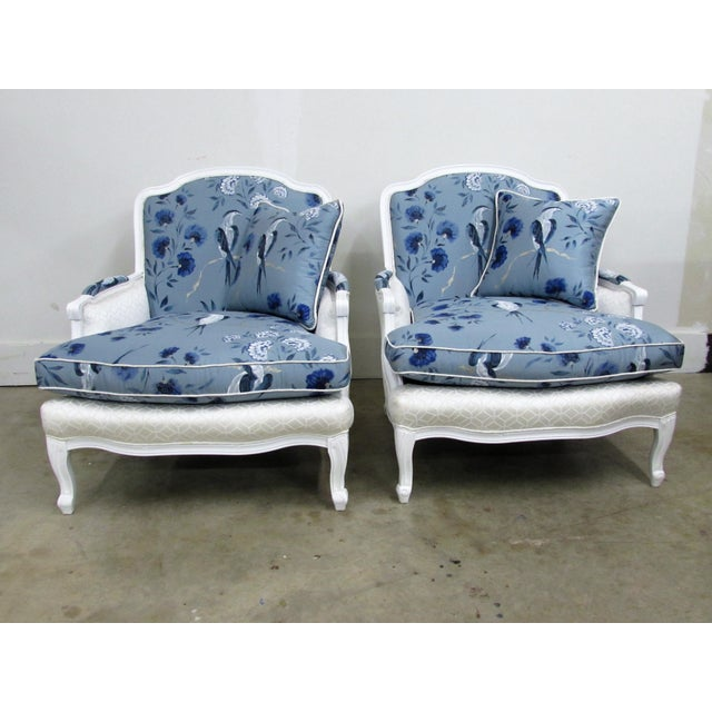 French Bergère Armchairs in White Lacquer and Designers Guild Jacaranda - a Pair For Sale - Image 10 of 11