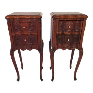 1940s Antique French Walnut Marble Top Nightstands For Sale