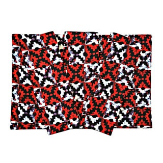 Red & Black African Fabric Napkins + Placemats Set of 4 For Sale