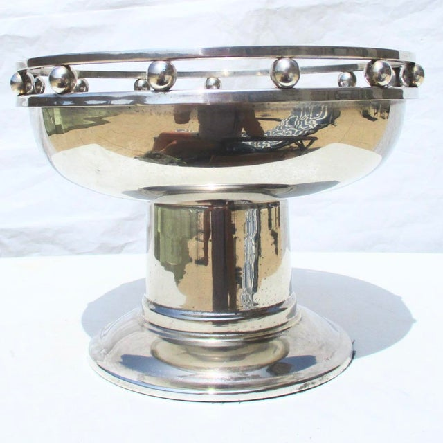 Arts & Crafts Larry Laslo Silver Plate Center Bowl For Sale - Image 3 of 8