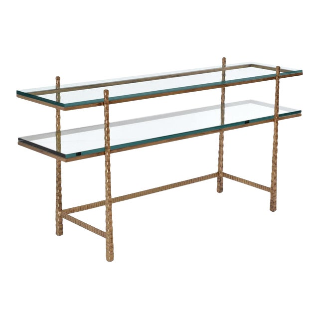 Tuscan Metal and Glass Console Table For Sale