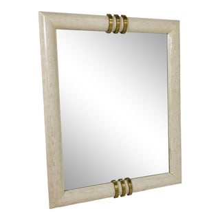 Monumental Wall Mirror in White Washed Oak and Bronze by Henredon, Ca. 1980s For Sale