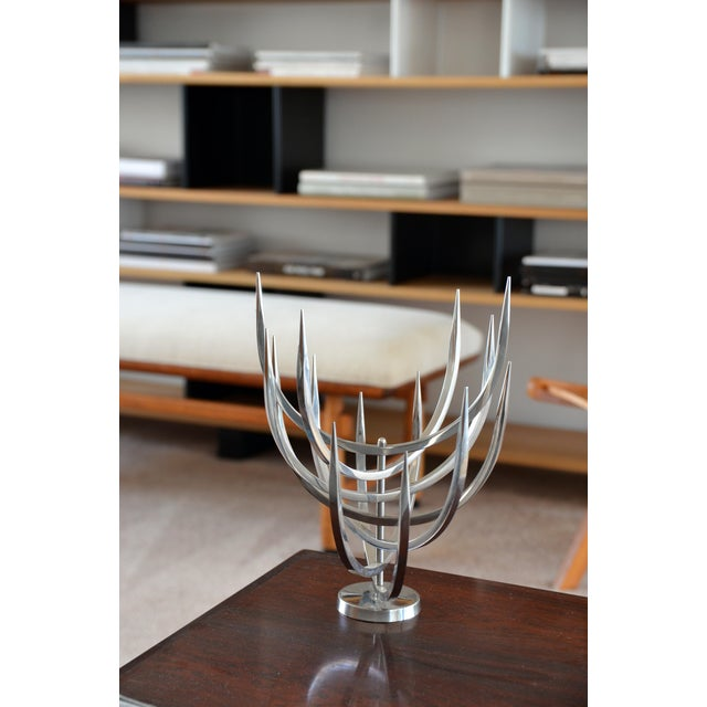 Silver Polished Stainless Steel Candle Tree by Xavier Feal For Sale - Image 8 of 9