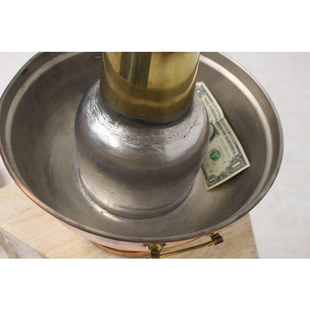 Brass Copper and Brass Coal Burning Food Warmer Removable Chimney Samovar For Sale - Image 7 of 9