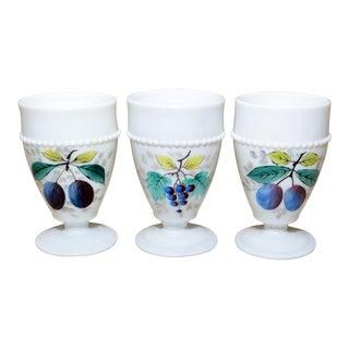 1950s Vintage Westmorland Milk Glass Goblets - Set of 3 For Sale