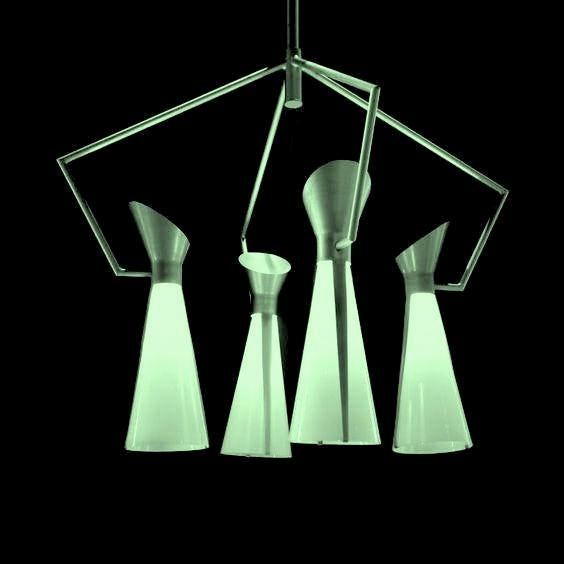 Mid Century Extreme Modernism Victor Gruen for John Lautner Chandelier Hanging Lamp For Sale - Image 4 of 11