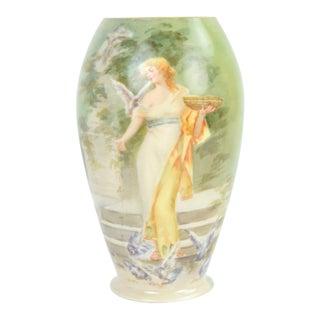 Hand Painted American Belleek Vase Woman in Diaphanous Gown Feeding Birds For Sale