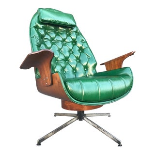 Mid Century Bat Arms High Back Swivel Chair by George Mulhauser for Plycraft Associates For Sale