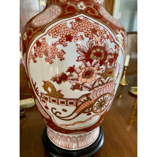 Asian Vintage Gold Imari Red and Gold Lamps - a Pair For Sale - Image 3 of 13