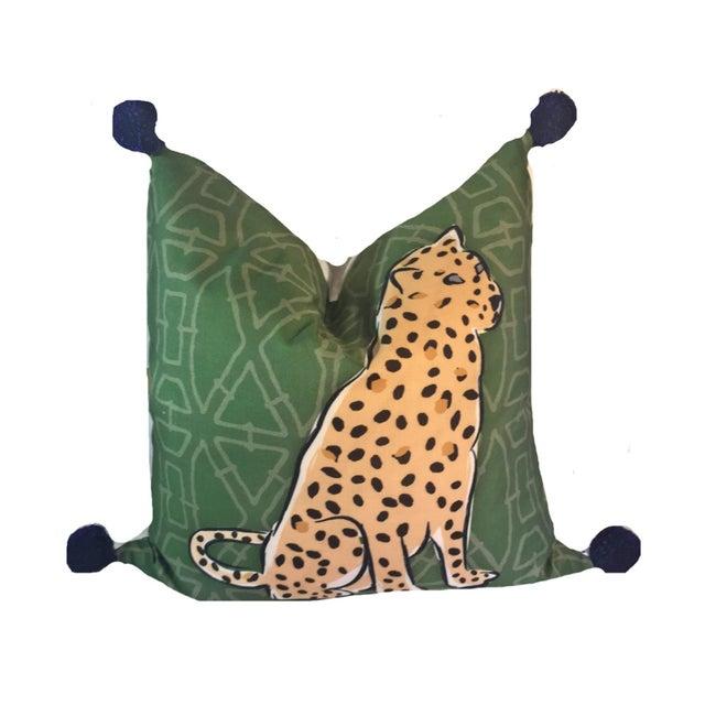 Boho Chic Leopard Pom Pom Pillow For Sale - Image 4 of 4
