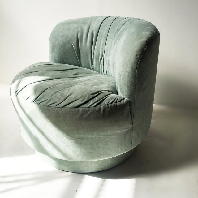Vintage Mint Suede Swivel Chair - Image 2 of 5
