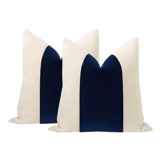 "22"" Sapphire Mohair Panel & Linen Velvet Pillows - a Pair For Sale"
