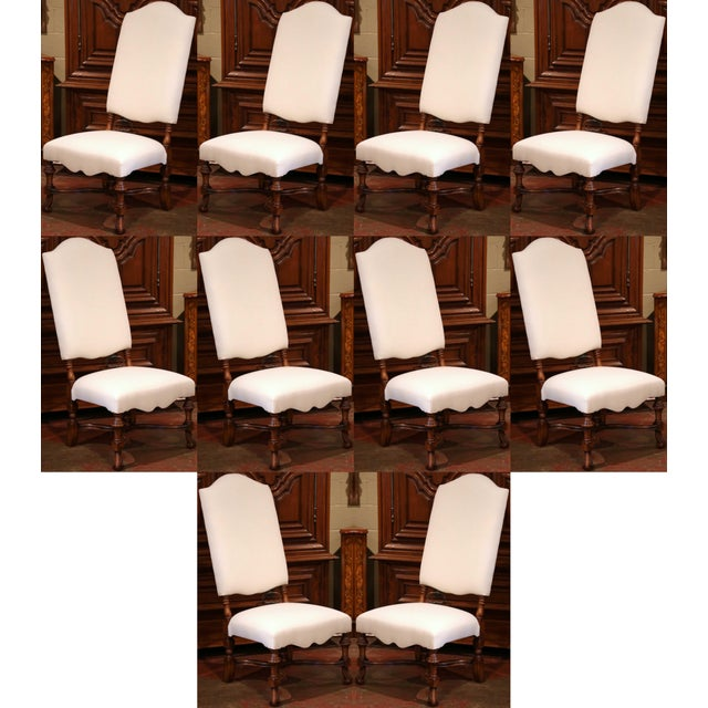 Large French Carved Walnut Dining Room Side Chairs With Arched Top - Set of 10 For Sale - Image 12 of 13