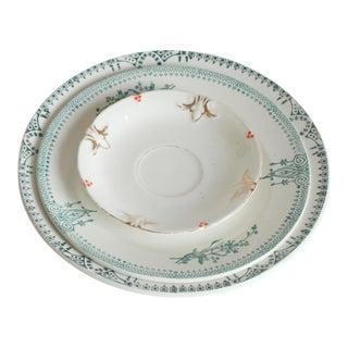 Vintage China Green Plates - Set of 3