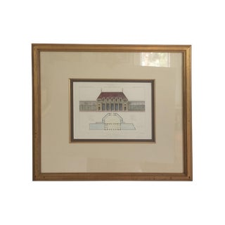 Cesar Daly Drawing of Jardin Botanique Paris - Architectural Lithograph Print in Gilt Frame For Sale