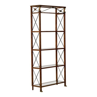 Spanish Neoclassical Style Painted Metal and Glass Etagere with Brass Mounts For Sale