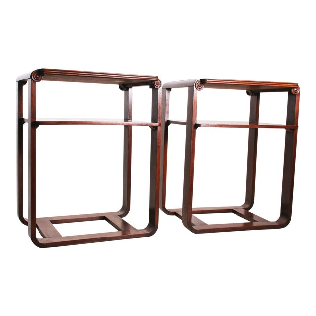 Vintage Art Deco Two Tier Wood Side Tables - A Pair - Image 1 of 11