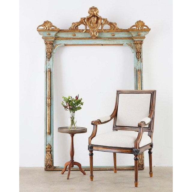 Opulent mid to late 19th century Venetian mirror frame or picture frame. Features a parcel gilt and sea foam green painted...